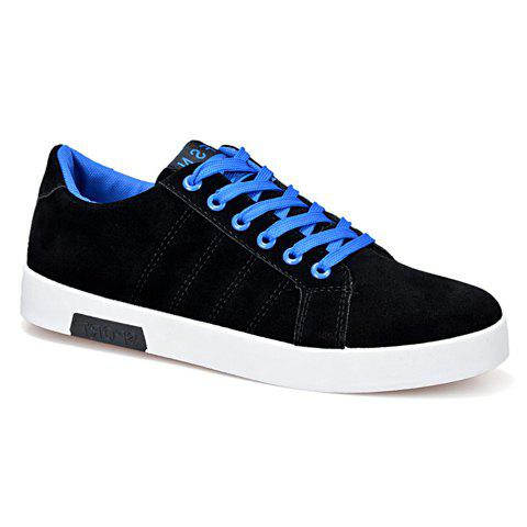 Simple Cotton Fabric and Lace-Up Design Sneakers For Men - BLUE 42