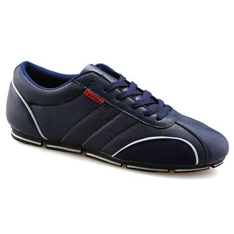 Trendy Round Toe and PU Leather Design Casual Shoes For Men - BLUE 42