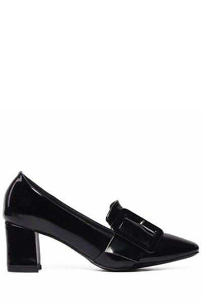Stylish Buckle and Chunky Heel Design Pumps For Women - 38 BLACK