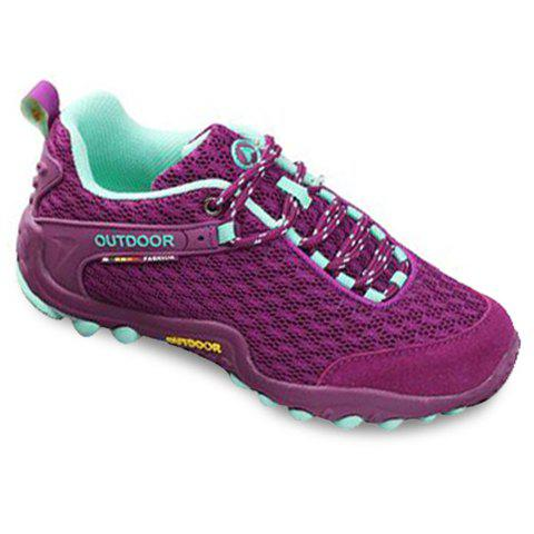 Casual Splicing and Lace-Up Design Sneakers For Women - PURPLE 36
