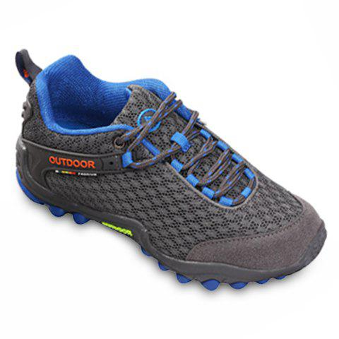 Casual Splicing and Lace-Up Design Sneakers For Men - DEEP GRAY 42
