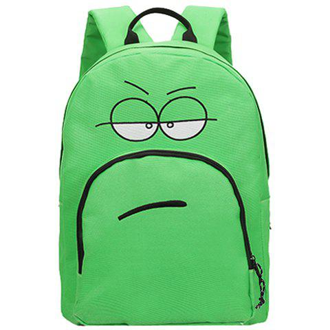 Stylish Expression Pattern and Zipper Design Women's Backpack - GREEN