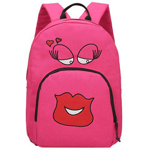 Stylish Women's Backpack With Expression Pattern and Color Block Design - ROSE
