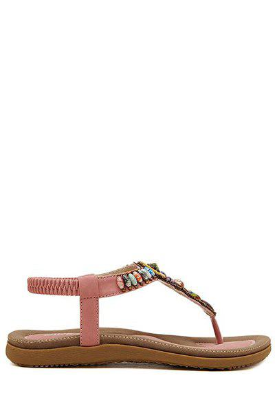 Bohemian Colorful Beads and Flat Heel Design Sandals For Women - PINK 40
