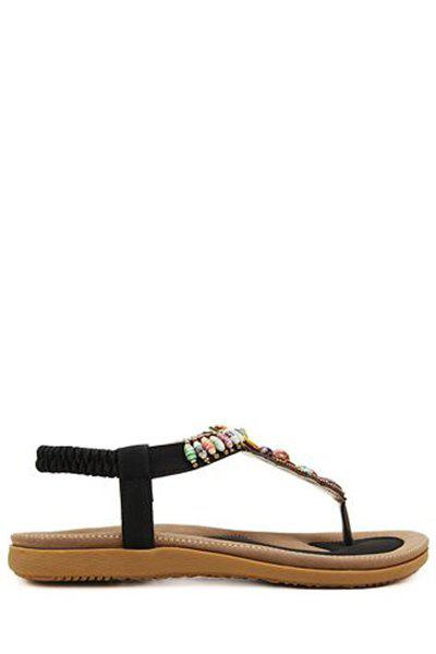 Bohemian Colorful Beads and Flat Heel Design Sandals For Women - BLACK 37