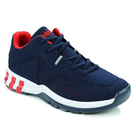 Fashionable Suede and Solid Color Design Athletic Shoes For Men - BLUE 39