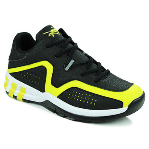 Fashionable Color Block and Lace-Up Design Athletic Shoes For Men - YELLOW/BLACK 42
