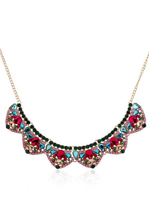 Delicate Faux Crystal Petals Fake Collar Necklace For Women -  COLORMIX