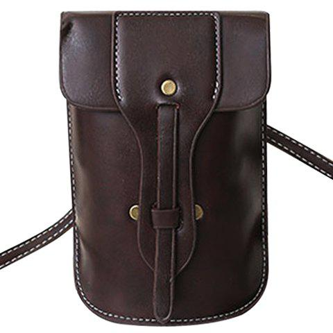 Stylish Solid Color and PU Leather Design Women's Crossbody Bag - DEEP BROWN