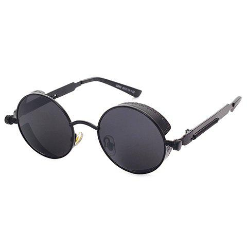 Chic Black Round Frame Women's Retro Sunglasses