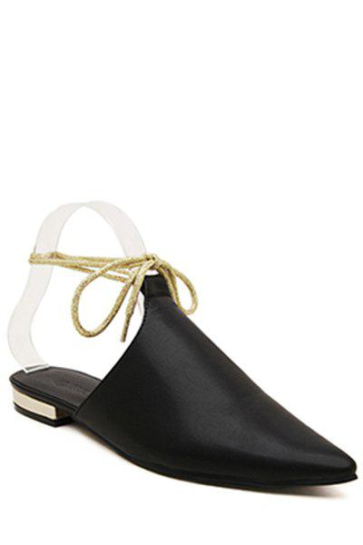 Stylish Pointed Toe and Cross-Strap Design Flat Shoes For Women - BLACK 36