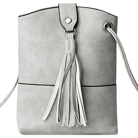 Fashionable Solid Colour and Tassels Design Women's Shoulder Bag - LIGHT GRAY