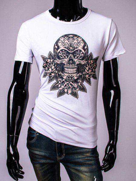 3D Skull and Floral Printed Round Neck Short Sleeve Men's T-Shirt - WHITE M