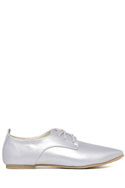 Laconic Lace-Up and Solid Color Design Flat Shoes For Women - SILVER 39