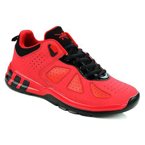 Stylish Solid Color and Lace-Up Design Sneakers For Men - 43 RED