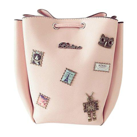 Stylish Metal and String Design Women's Shoulder Bag - PINK