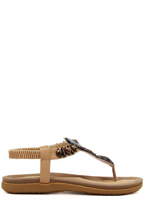 Bohemian Beading and Flat Heel Design Sandals For Women - APRICOT 40