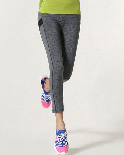 Active Elastic Waist Skinny Sport Leggings For Women - GRAY L