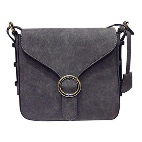 Trendy Solid Colour and Buckle Design Women's Crossbody Bag - DEEP GRAY