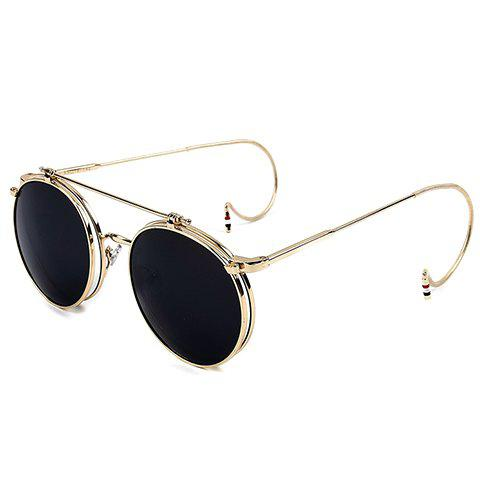 Chic Golden Round Frame and Clamshell Design Women's Sunglasses - BLACK