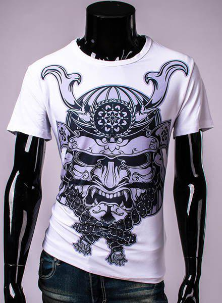 3D Dragon Helmet Printed Round Neck Short Sleeve Men's T-Shirt - WHITE M