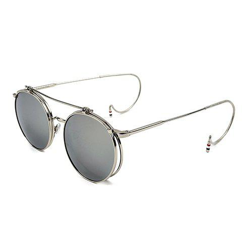 Chic Silver Round Frame and Clamshell Design Women's Sunglasses - GRAY