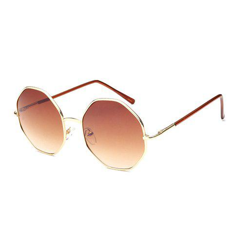 Chic Golden Polygonal Frame Women's Sunglasses - TEA COLORED