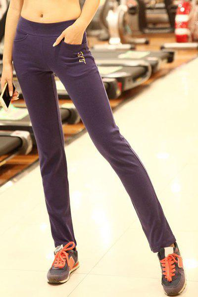 Active Elastic Waist Yoga Pants For Women - PURPLE L
