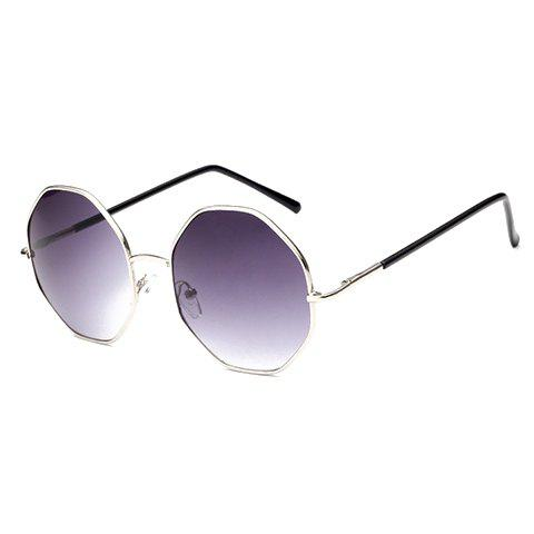 Chic Silver Polygonal Frame Women's Sunglasses - PURPLE