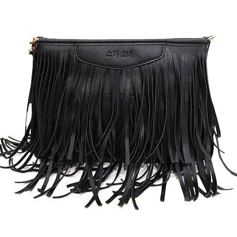 Trendy Metal and Fringe Design Women's Crossbody Bag - BLACK