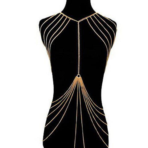 Trendy Exaggerated Alloy Multilayered Body Chain For Women - GOLDEN