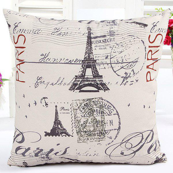 High Quality Square Shape Tower Pattern Signature Cotton Pillow Case(Without Pillow Inner)