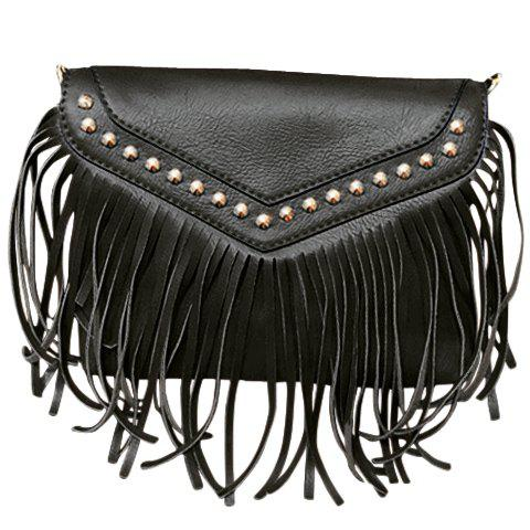 Fashionable Fringe and Rivets Design Women's Shoulder Bag - BLACK