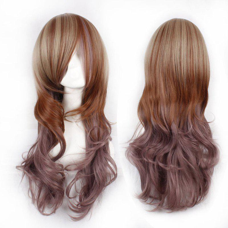 Fluffy Wavy Side Bang Attractive Three Colors Gradient Long Synthetic Cosplay Wig For Women - COLORMIX