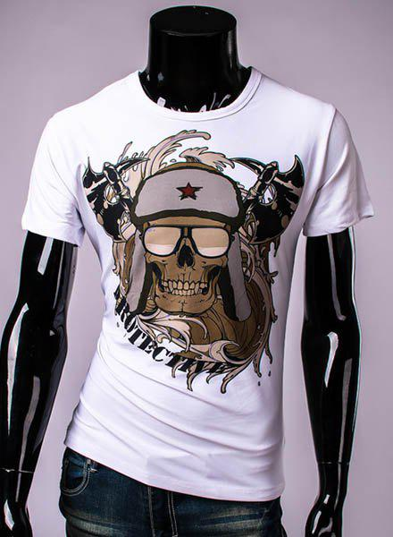 3D Sickle and Hat Skull Printed Round Neck Short Sleeve Men's T-Shirt - WHITE M
