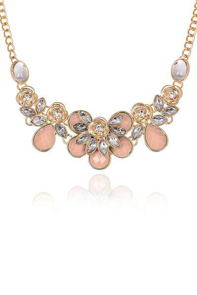 Rose Decorated Faux Gemstone Necklace - LIGHT PINK