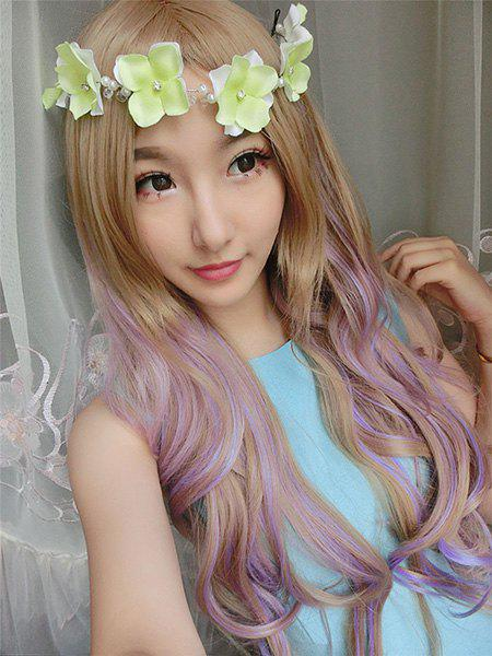 Lolita Long Fluffy Wavy Synthetic Trendy Brown Ombre Orchid Pink Women's Cosplay Wig - OMBRE