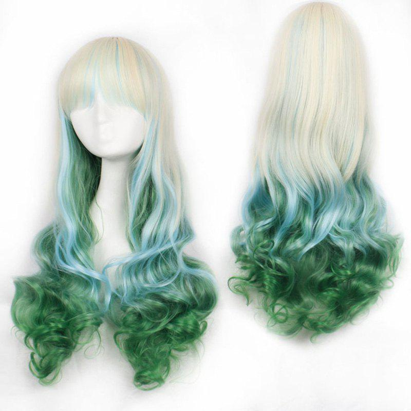 Fluffy Wavy Long Three Colors Gradient Fashion Harajuku Long Synthetic Cosplay Wig For Women