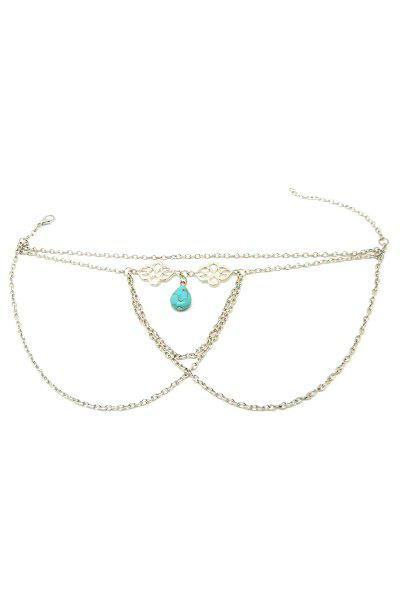 Trendy Ethnic Turquoise Water Drop Arm Chain Jewelry For Women - SILVER