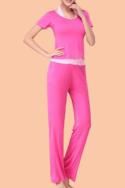 Chic Short Sleeve Scoop Neck Hit Color Three-Piece Women's Yoga Suit - ROSE 2XL