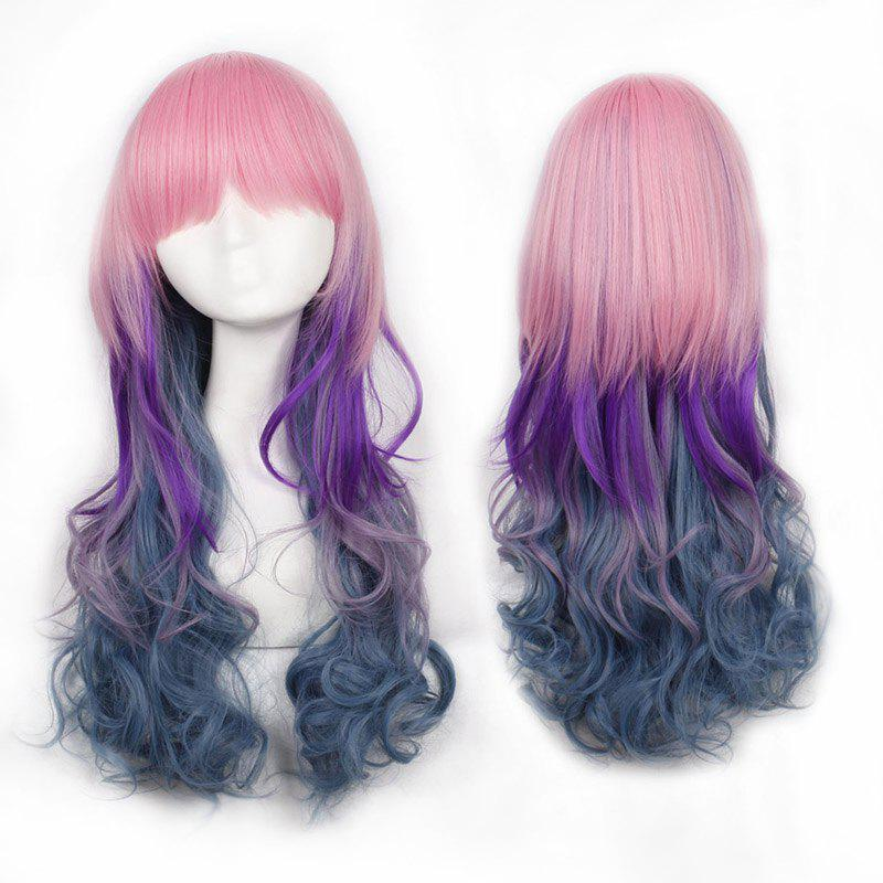 Vogue Multicolor Ombre Full Bang Fluffy Wavy Lolita Long Women's Synthetic Cosplay Wig - OMBRE