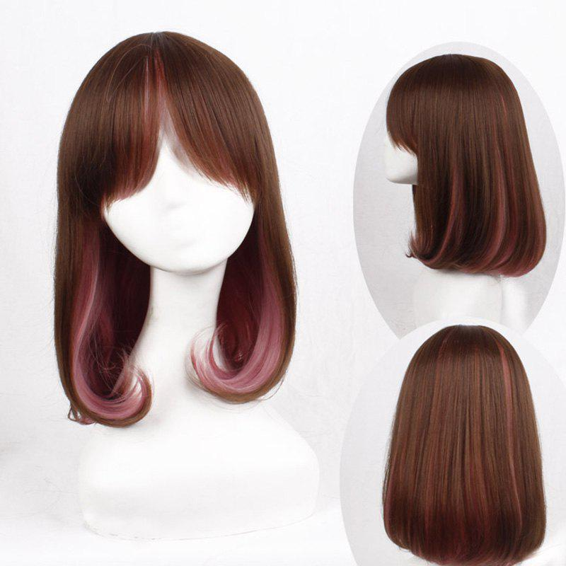 Lolita Rinka Haircut Natural Wavy Sweet Medium Synthetic Brown Ombre Pink Cosplay Wig For Women - OMBRE 1211