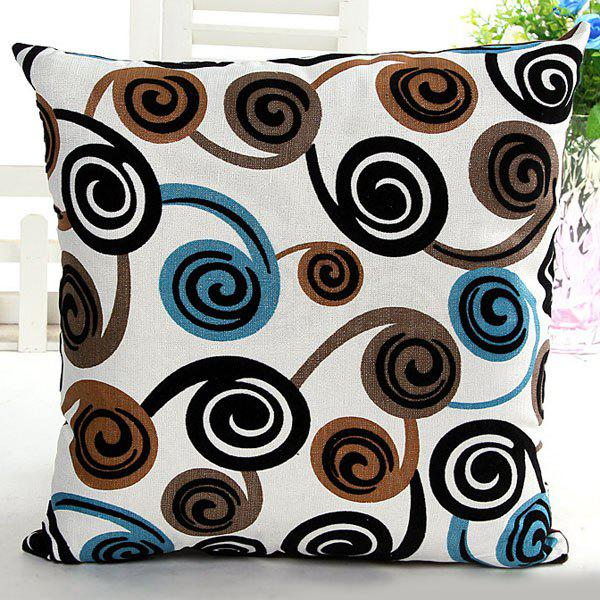 High Quality Square Shape Colorful Swirl Pattern Signature Cotton Pillow Case(Without Pillow Inner)
