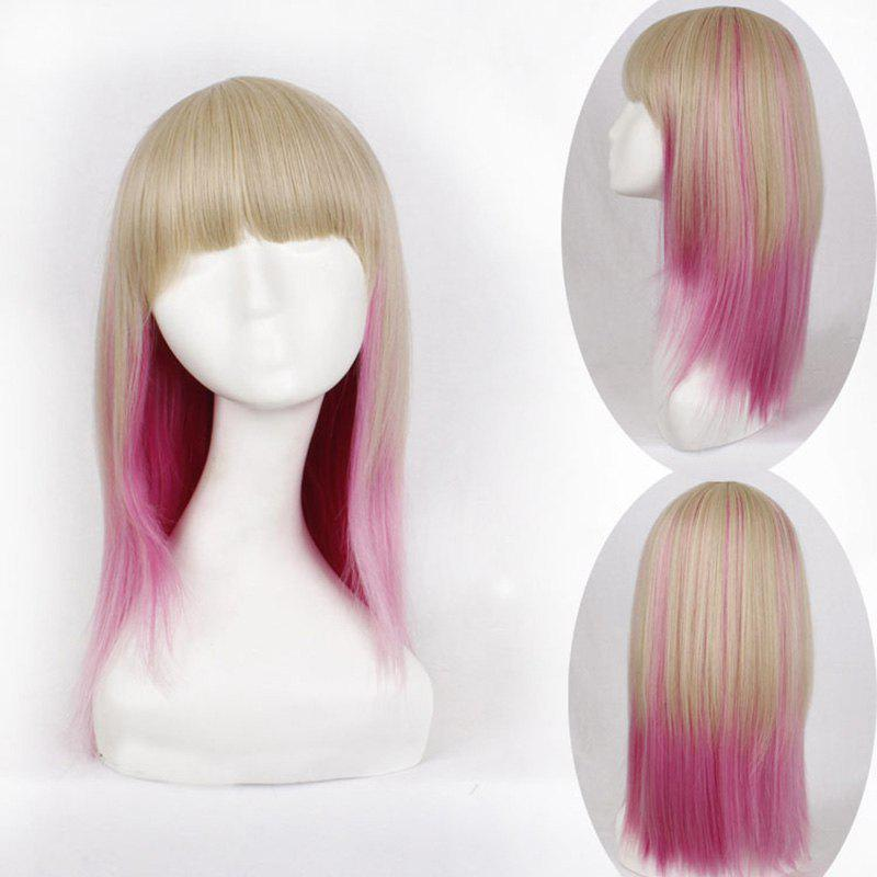 Charming Long Straight Synthetic Harajuku Golden Pink Ombre Full Bang Women's Cosplay Wig