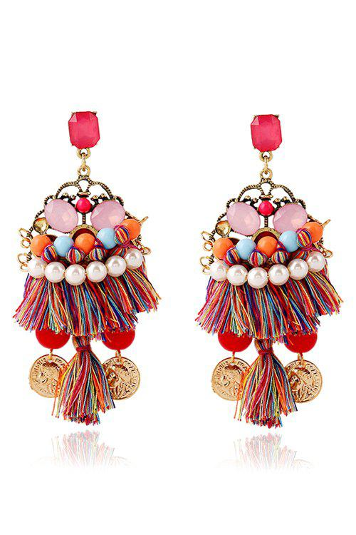 Pair of Ethnic Bohemia Coin Tassel Earrings For Women - COLORMIX