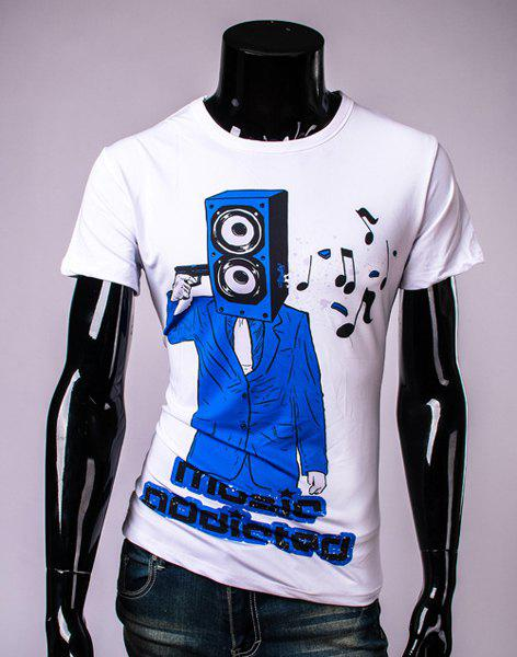 Stylish Round Neck  Letters Print Music Note Pattern Short Sleeve Men's T-Shirt