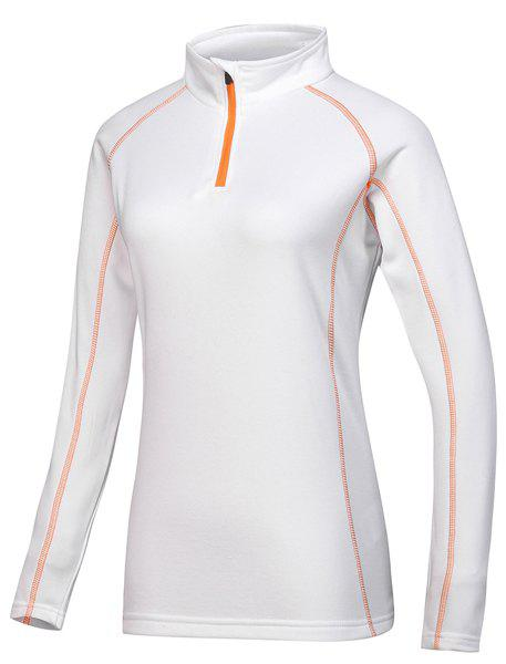 Active Stand Collar Long Sleeve Sport T-Shirt For Women - WHITE M