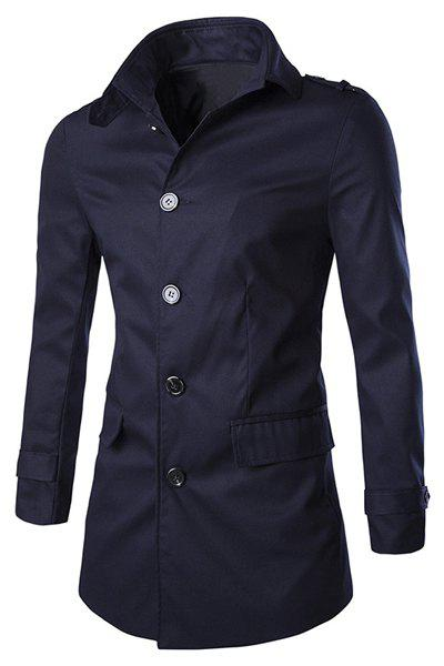Slim Fit Single Breasted Solid Color Turn Down Collar Trench Coat For Men - CADETBLUE XL
