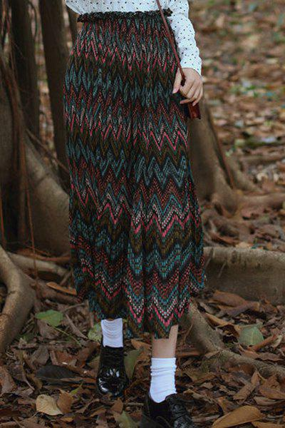 Vintage Elastic Waist High-Waisted Zig Zag Women's Skirt - GREEN ONE SIZE(FIT SIZE XS TO M)