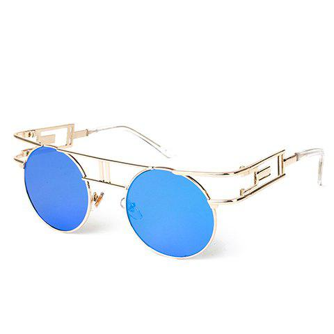 Chic Golden Round Frame and Hollow Out Design Women's Sunglasses - BLUE